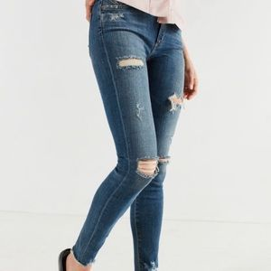 Agolde Distressed Mid Rise Skinny Jeans 25